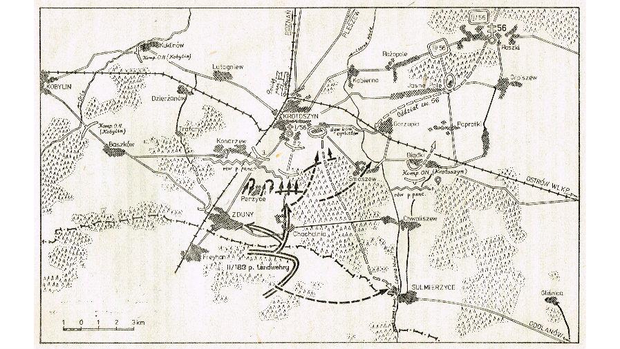 Położenie 56 Pułku Piechoty Wielkopolskiej w dniu 1 września 1939 według szkicu z pamięci płk. Wojciecha Tyczyńskiego